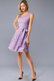Dressystar women's short lace bridesmaid dress 0009 lavender main