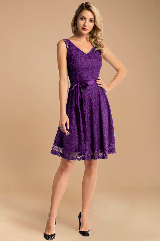 purple short sleeveless lace dress with belt