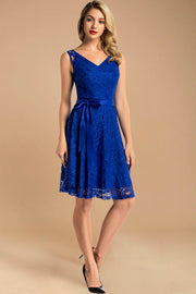 v neck short lace dress with belt royalblue