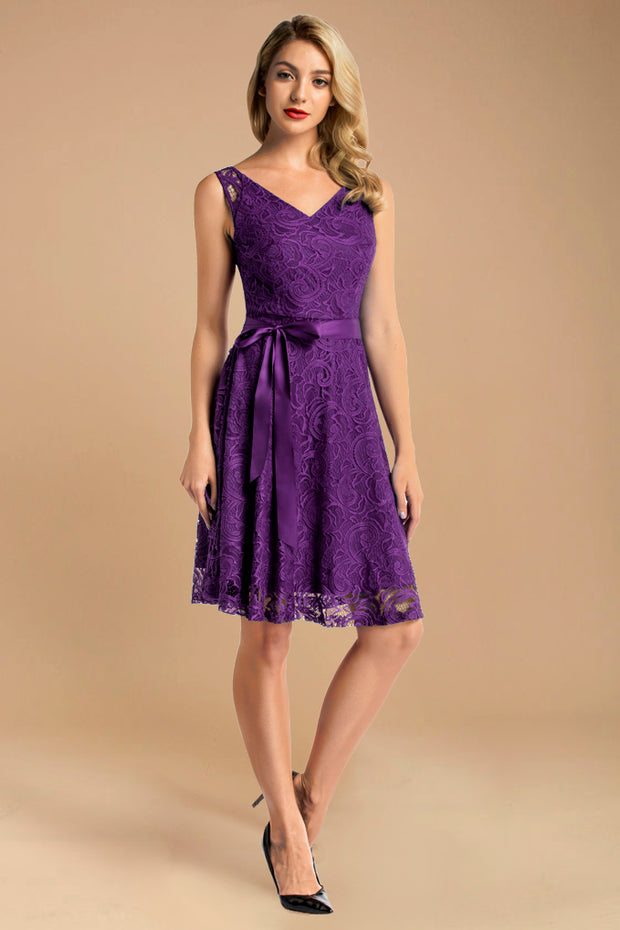 purple v neck lace bridesmaid dress with belt