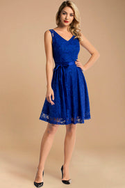 v neck short lace bridesmaid dress royalblue