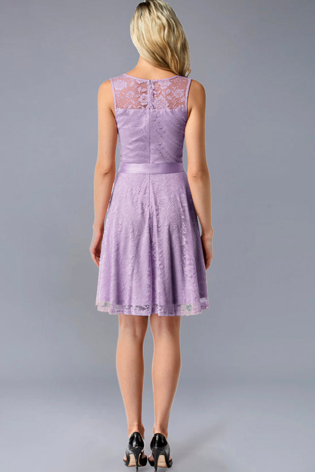Dressystar women's short lace bridesmaid dress 0009 lavender back