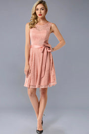 Dressystar women's short lace bridesmaid dress 0009 blush main