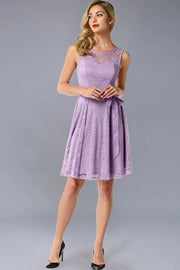 Dressystar women's short lace bridesmaid dress 0009 lavender front