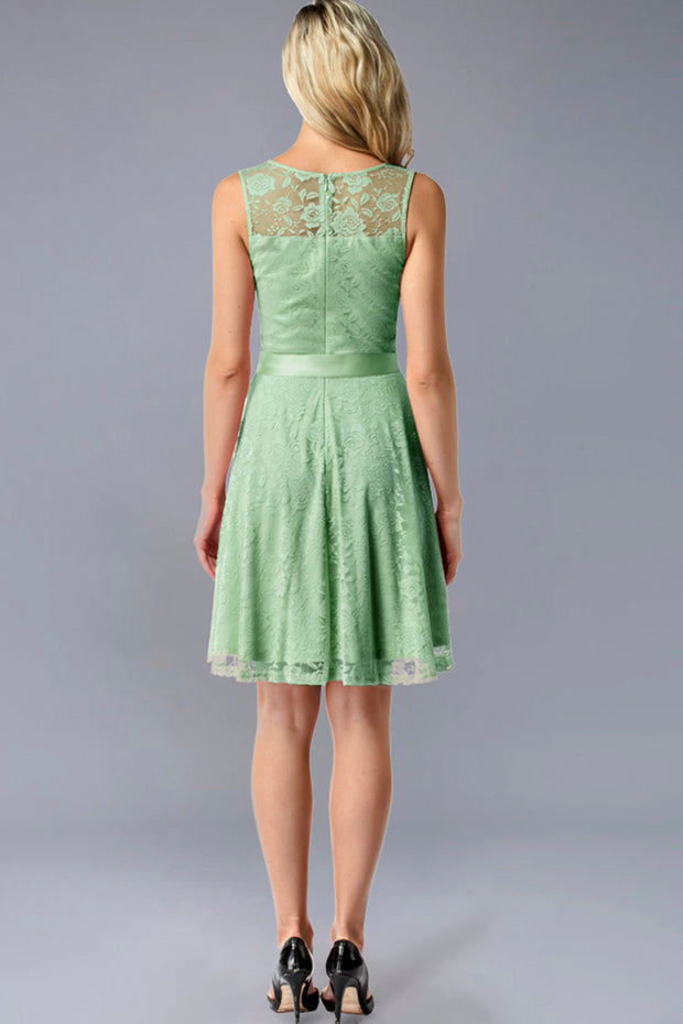 Dressystar women's short lace bridesmaid dress 0009 mint back
