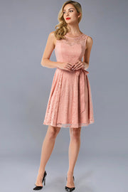 Dressystar women's short lace bridesmaid dress 0009 blush front