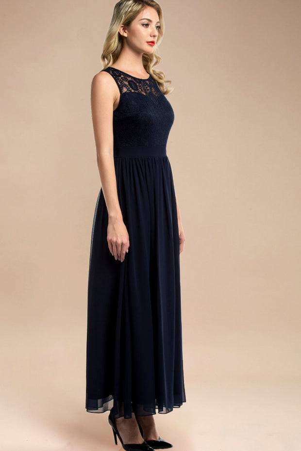 Dressystar women sleeveless maxi formal dress 0046 navy side
