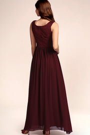 Dressystar women's v neck straps wedding party gown 0070 burgundy back