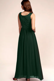 Dressystar women's v neck straps wedding party gown 0070 darkgreen back