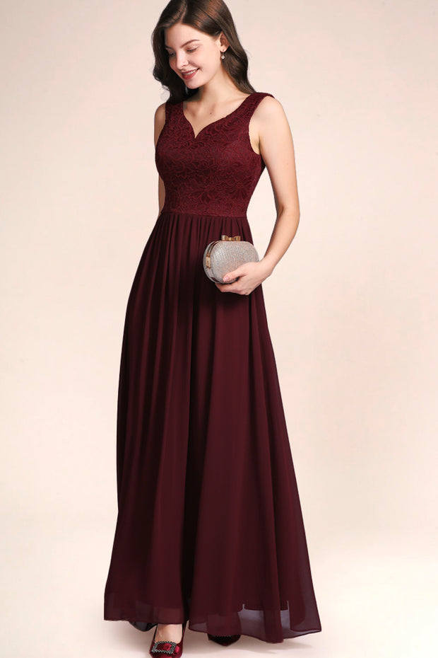 Dressystar women's v neck straps wedding party gown 0070 burgundy main