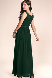 Dressystar women's v neck straps wedding party gown 0070 darkgreen side2