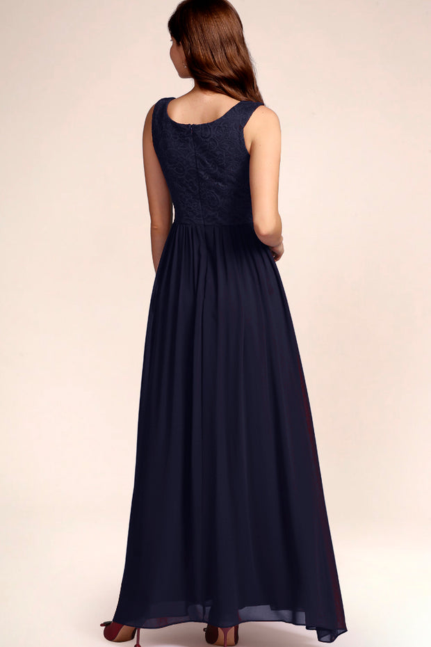 Dressystar women's v neck straps wedding party gown 0070 navy back