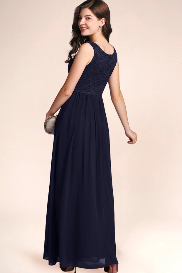 Dressystar women's v neck straps wedding party gown 0070 navy turn around