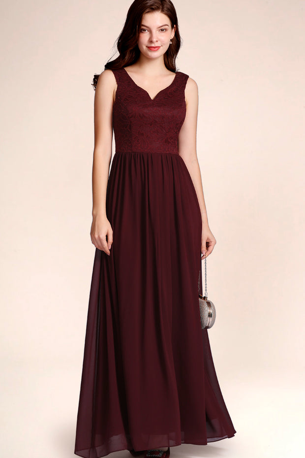 Dressystar women's v neck straps wedding party gown 0070 burgundy front
