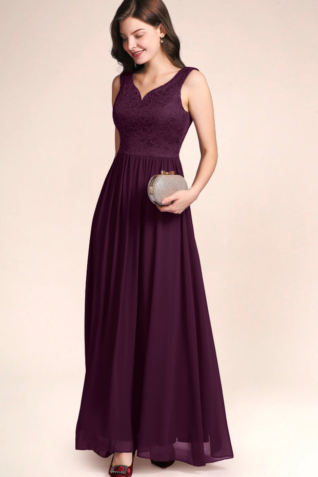 Dressystar women's v neck straps wedding party gown 0070 grape side