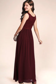 Dressystar women's v neck straps wedding party gown 0070 burgundy side
