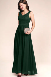 Dressystar women's v neck straps wedding party gown 0070 darkgreen side1