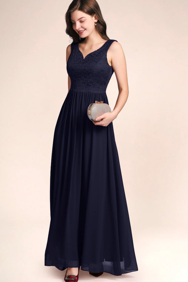 Dressystar women's v neck straps wedding party gown 0070 navy main