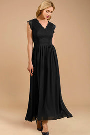 dressystar women's v neck sleeveless wedding party gown 0050 black side