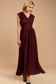 Dressystar women's v neck sleeveless wedding party gown 0050 burgundy side