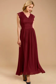 Dressystar women's v neck sleeveless wedding party gown 0050 darkred side
