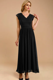 dressystar women's v neck sleeveless wedding party gown 0050 black more detail 1