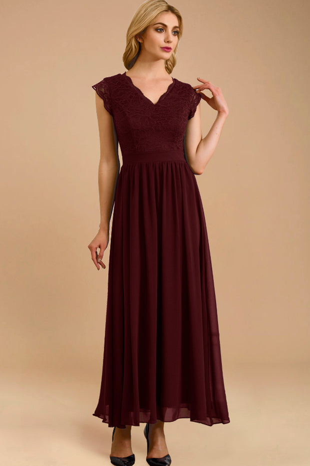 Dressystar women's v neck sleeveless wedding party gown 0050 burgundy more detail 1