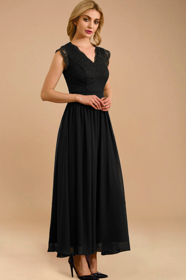 dressystar women's v neck sleeveless wedding party gown 0050 black main