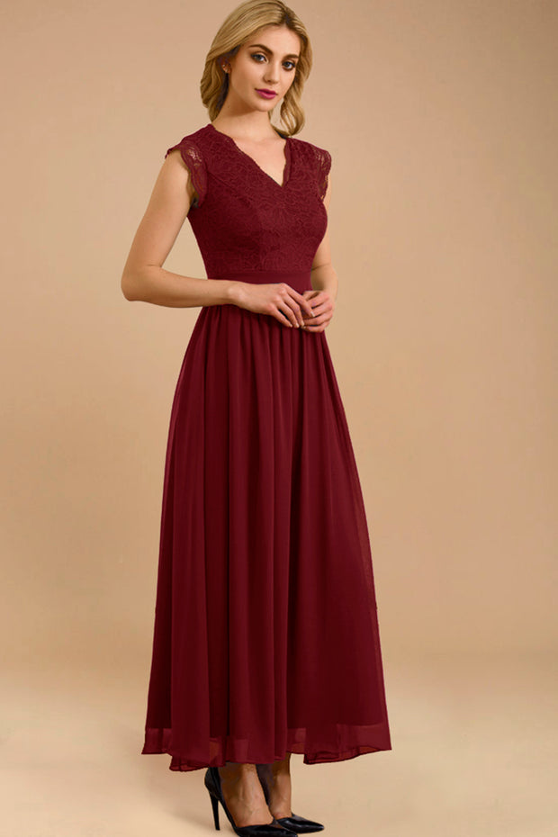 Dressystar women's v neck sleeveless wedding party gown 0050 darkred more detail 1