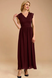 Dressystar women's v neck sleeveless wedding party gown 0050 burgundy main