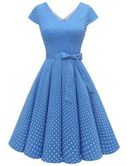 Dressystar women short v neck cap sleeve vintage dress VT50 bluedot main