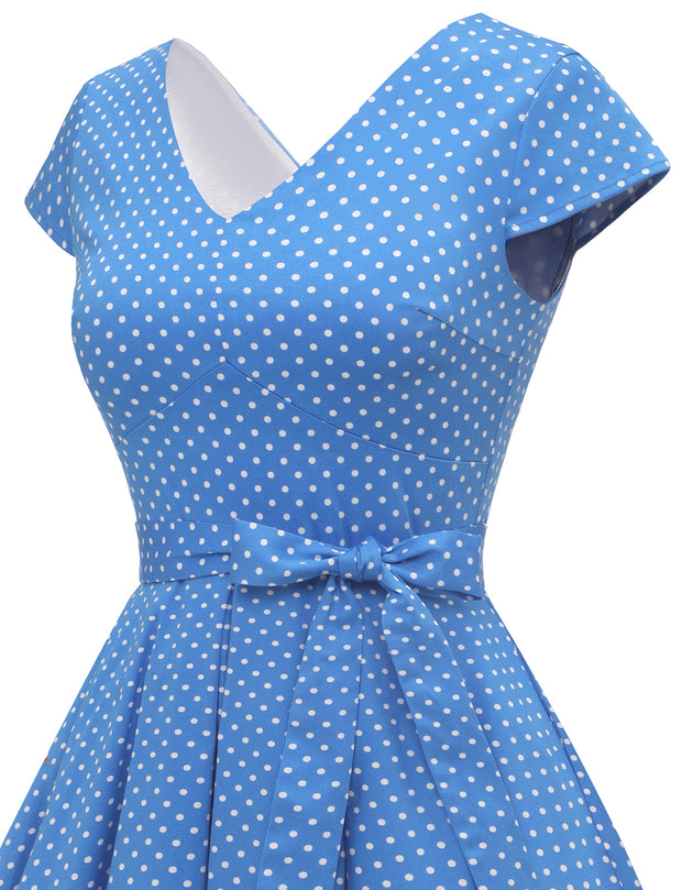 Dressystar women short v neck cap sleeve vintage dress VT50 bluedot side detail
