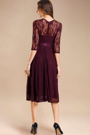Dressystar women's 3/4 sleeves lace midi dress with belt 0017 burgundy back