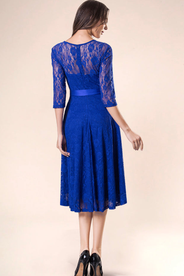 Dressystar women's 3/4 sleeves lace midi dress with belt 0017 royalblue back