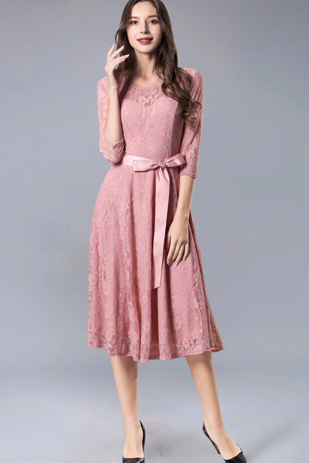 Dressystar women's 3/4 sleeves lace midi dress with belt 0017 blush front