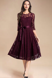 Dressystar women's 3/4 sleeves lace midi dress with belt 0017 burgundy front