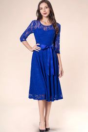 Dressystar women's 3/4 sleeves lace midi dress with belt 0017 royalblue front