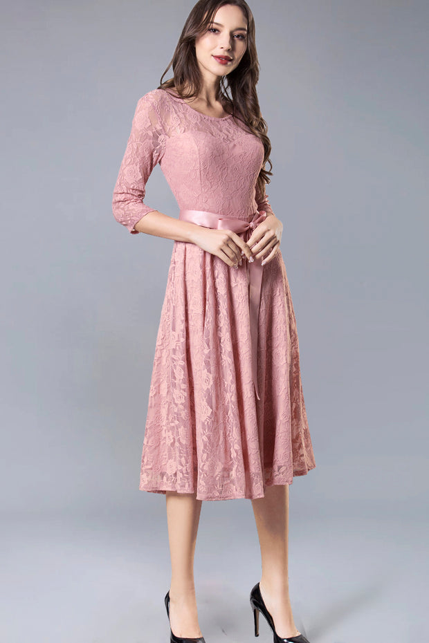 Dressystar women's 3/4 sleeves lace midi dress with belt 0017 blush main