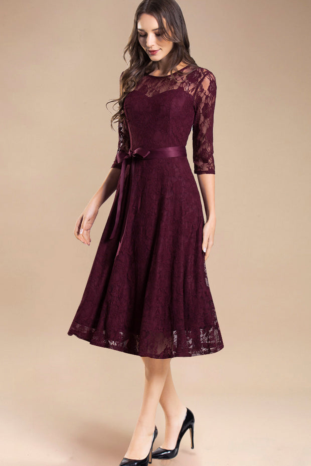 Dressystar women's 3/4 sleeves lace midi dress with belt 0017 burgundy main