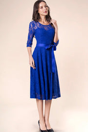 Dressystar women's 3/4 sleeves lace midi dress with belt 0017 royalblue side