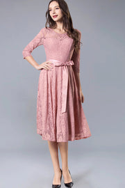 Dressystar women's 3/4 sleeves lace midi dress with belt 0017 blush front2