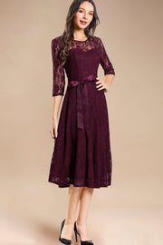 Dressystar women's 3/4 sleeves lace midi dress with belt 0017 burgundy front2