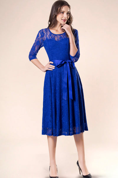 Dressystar women's 3/4 sleeves lace midi dress with belt 0017 royalblue main