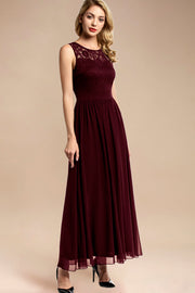 Dressystar women sleeveless maxi formal dress 0046 burgundy side