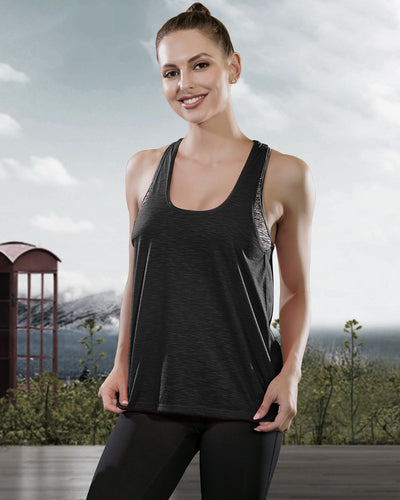 Workout Tank Tops with Built in Bra in Black