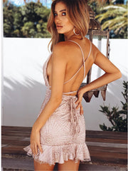 Pink Glitter Backless Mini Dress