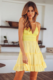 Dressystar Yellow Women Lace Casual Dress Beach with Straps