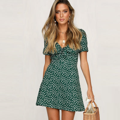 Dressystar Green Women Floral Print V Neck Casual Summer Swing Dress