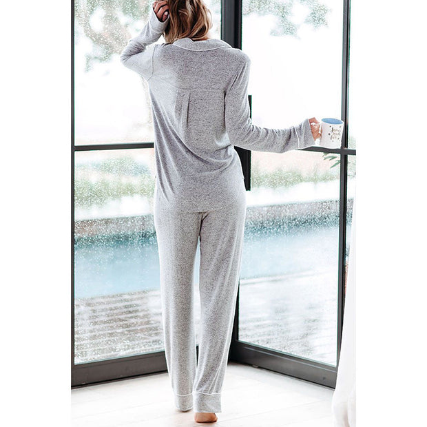 Button Front Pajama Set Grey
