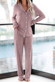 Button Front Pajama Set Pink